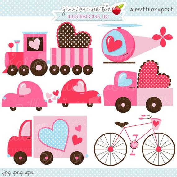 Sweet Transport Valentine Cute Digital Clipart - Commercial Use OK - Valentine Graphics - Valentine Truck