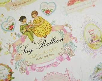 Say Balloon Stickers / Girl's Secret - 2 sheets (4.7 x 7in)
