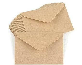 15 Basic Kraft Envelopes - Small (4 x 2.8in)