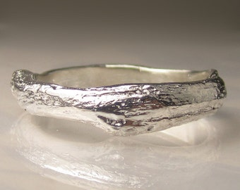 Wide Men's Twig Ring in Sterling Silver,  Men's Wedding Band