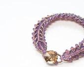 orchid swarovski crystal bracelet . purple . crystal . gift idea . spring tones . gold .