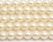 8mm Cream Glass Pearl Beads 15.5 inch strand