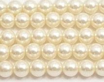 8mm Cream Glass Pearl Beads 15.5 inch strand