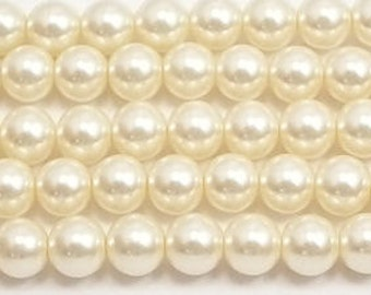8mm Cream Glass Pearl Beads (Loose) 54 pcs equal to one 16 inch strand