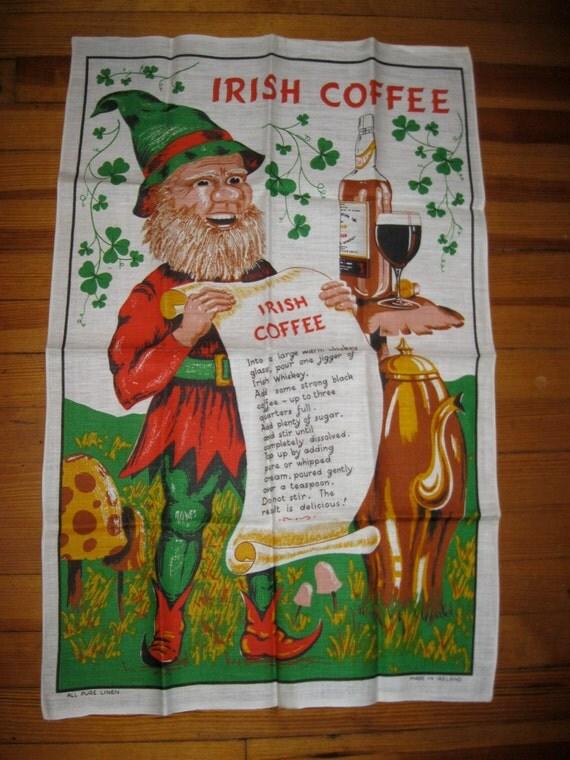 Ireland Irish Linen Tea Towel Leprechaun Irish By