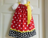 Minnie Theme Little Girl Pillowcase Dress  Custom Sizes NB-6yrs