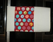 Kitchen  waffle weave Tea Towel with red oriental print  banner. Handmade and Ready to Ship
