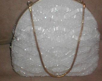 Vintage WALBORG White Beaded Evening Bag Purse circa 1950