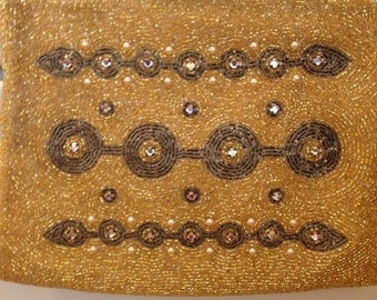 Vintage  GOLD Beaded Evening Bag Purse