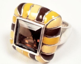Vintage 1930's Sterling Silver Ring with Enamel & Cashmere Topaz Stone