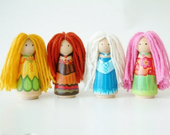 The 4 Seasons - Wooden Peg Doll Set - Summer Winter Fall Spring - Waldorf Educational Toy - Unique Gift - Zooble
