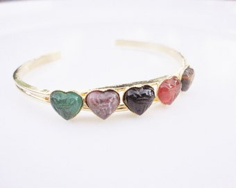 vintage cuff bangle bracelet with hearts gemstones scarab