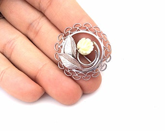 Gold filled vintage circle brooch carved rose flower G.R. co 12K Gf  white gold color