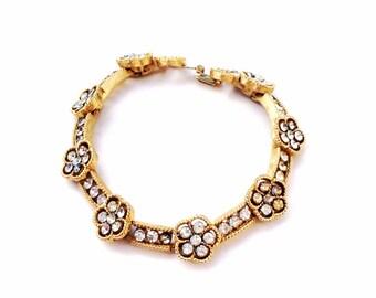 Rhinestones flowers bracelet  TRIFARI with crown bracelet gold tone vintage jewelry