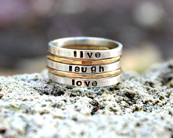 Stamped Stackable rings - Your names or words - Personalized