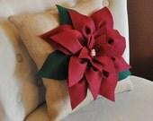 Cranberry Red Poinsettia Flower on Burlap Pillow Accent Pillow Burlap Christmas Pillow