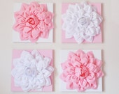 "Nursery Wall Decor -SET OF FOUR Light Pink and White Flower Wall Hangings 12 x12"" Canvases Flower Wall Art-"