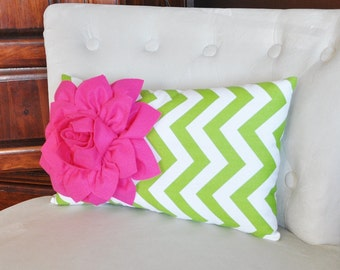 Chartreuse Chevron Lumbar Pillow with Hot Pink Dahlia Decorative Lumbar Pillow 9 x 16