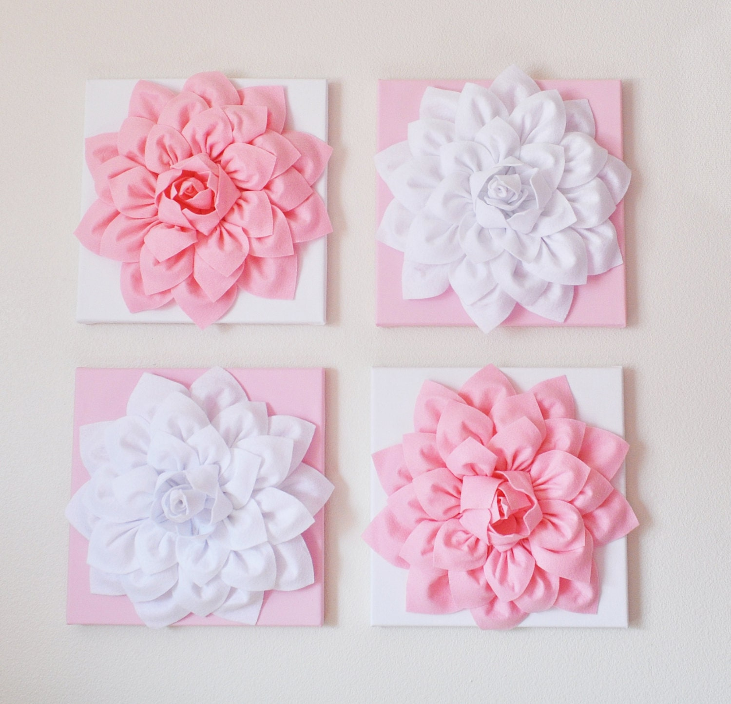 Nursery wall decor set of four light pink and white flower for Pink wall art