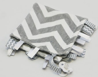 Baby Ribbon Tag Blanket - Minky Binky Blankie - Grey and White Chevron with Grey