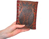 Red Leather  Iphone  Clutch Wallet in Owl Print