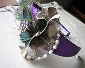Purple headband | feather fascinator | ginkgo leaf | statement | womens