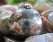 Domed Antiqued Michigan Quarter Pendant with Handmade Sterling Silver Bail MADE TO ORDER.