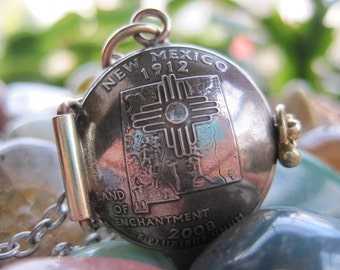New Mexico State Quarter Locket Pendant MADE TO ORDER.