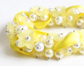 Yellow Flower Cluster Bracelet and Earrings Set