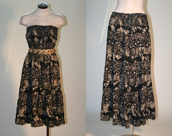 Vintage Black Floral Print Gypsy Flowing  Festival Maxi Skirt or Tent Dress