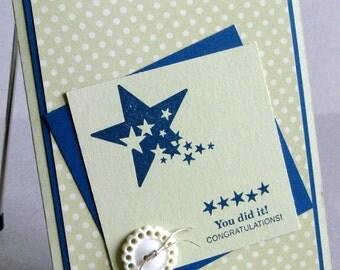 Congratulations Card Handmade Retirement Any Accomplishment You Did It in Stars Graduate Retiree Graduation