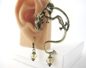 Gold or Silver Dragon Ear Cuff Earring - Dragon Earring - Dragon Earcuff - Silver Ear Wrap Earring - Ear Jewelry