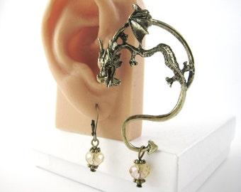 Gold or Silver Dragon Ear Cuff Earring - Dragon Earring - Dragon Earcuff - Silver Ear Wrap Earring - Ear Jewelry
