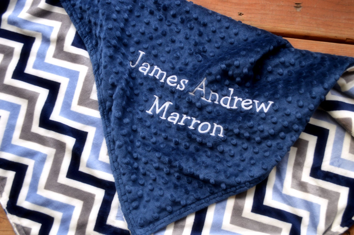 Personalized Baby Blanket Navy Blue And Grey And Blue Chevron