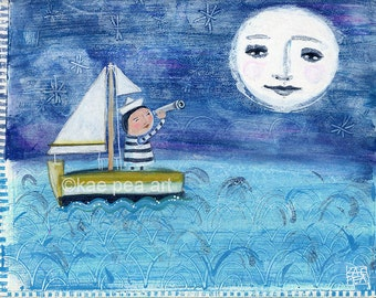 The Moon, Me & the Sea Print from my original art