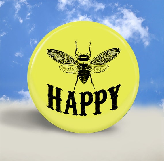 Pocket Mirror, Magnet or Pinback Button - Bee Happy - 2.25 Inches - Party Favor, Bridesmaid Gift, Shower Favor, Wedding Favor
