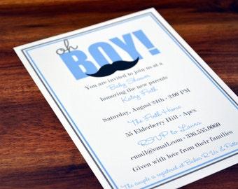 Boys Baby Shower Mustache Invitation / Boys Shower Invite / Mustache Baby Invitation / Baby Shower Invite / Mustache Baby Shower for Boys