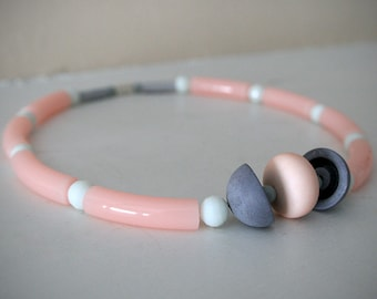 "Pastel Necklace in Pink and Grey / Vintage Lucite Pastel Rose Beads with Grey Half Spheres / ""MARJAN"""