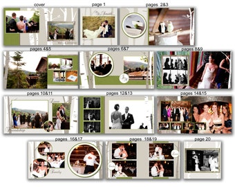 INSTANT DOWNLOAD - 12x12 Wedding Album template - Modern Woods - 0377 FA