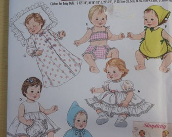 Baby Doll Clothhing Wardrobe in 3 Sizes- Dress Top Panties Slip Cape Hat Wrapper- UNCUT Simplicity Sewing Pattern 3883- For 12-22 Inch Dolls