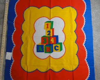 Vintage Alphabet Blocks Fabric Panel- Child-like Primary Red, Yellow & Blue Colors- 35 x 44 Inches