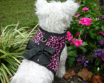 Pink Leopard Small Dog Harness with Bow, dog harnesses, pet clothing, Made in USA
