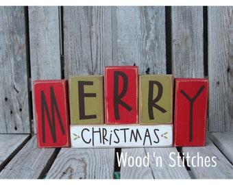 Christmas wood block set seasonal home decor sign Merry Christmas gift personalized handmade