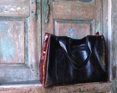 Black and Red Leather Color Blocked Tote or Bag