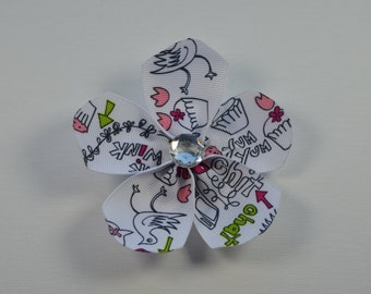 Cupcake, wink, chit chat, tweet ribbon flower hair alligator clip with clear bling faceted rhinestone