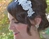 White Bridal Haircomb, Wedding Headpiece, Bridal Headpiece, Ivory or White Hair Comb, Beaded Headpiece for Bride