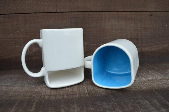 White with Aqua Blue - Ceramic Cookies and Milk Dunk Mug with Cookie Shelf
