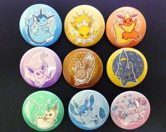 "Eevee and Eeveelutions 1.5"" Buttons"