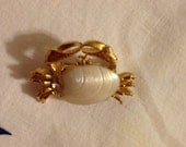 Vintage Faux Shell Crab Brooch or Scatter Pin
