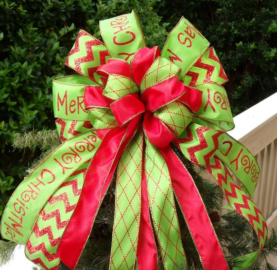 Red and lime christmas tree bow wreaths bows for